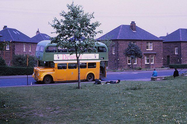 Bus crew lying down at Mosspark, Glasgow. (1971) Picture: Guy Arab UF