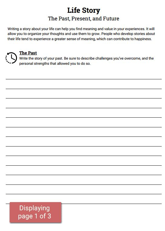 Life Story --Past, Present, Future worksheet. : Social ...