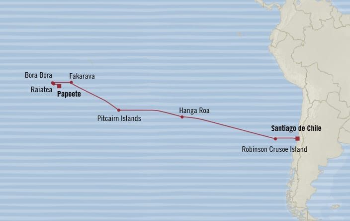 Oceania Cruises 18-days from Santiago de Chile (San Antonio), Chile to Papeete (Tahiti), French Polynesia