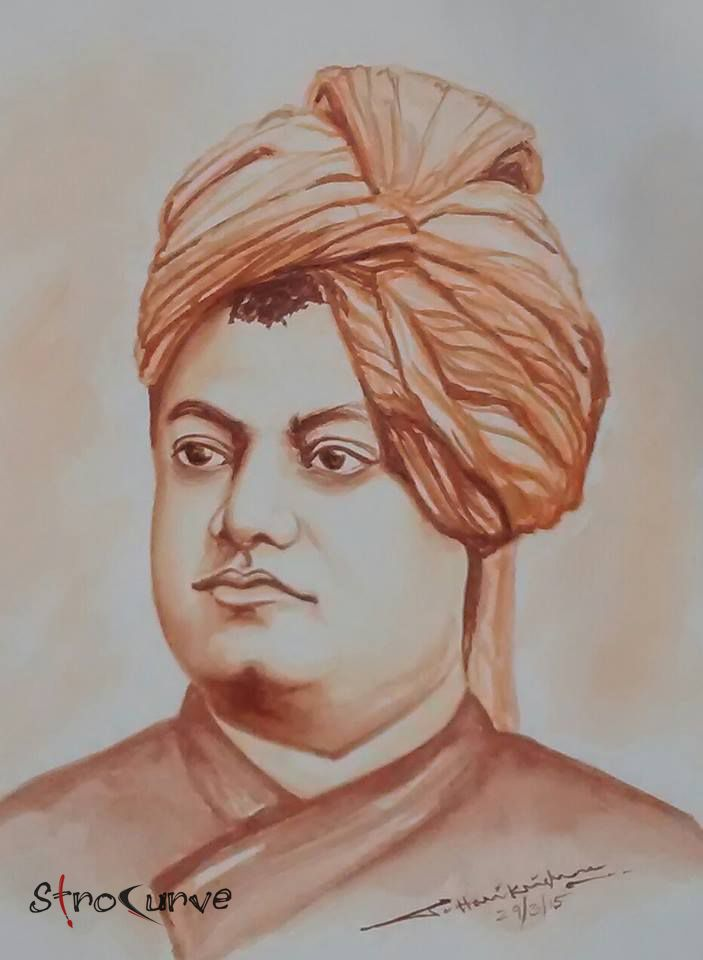 Swamy Vivekananda Water Color Painting...