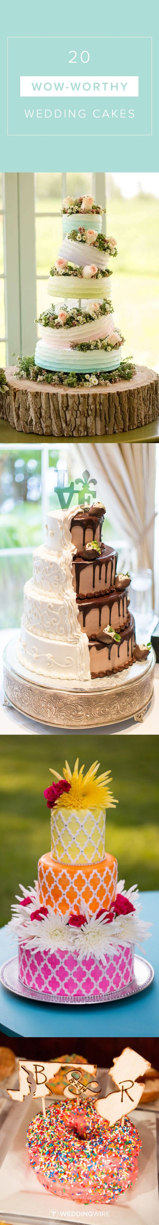 20 Wow-Worthy Wedding Cake Ideas - Explore wedding cake ideas for every style from fancy five-tier cakes to naked cakes on @weddingwire! {Katelyn James, Thompson Photography Group, Cindys Cakery, LLC, Artistic Imagez}