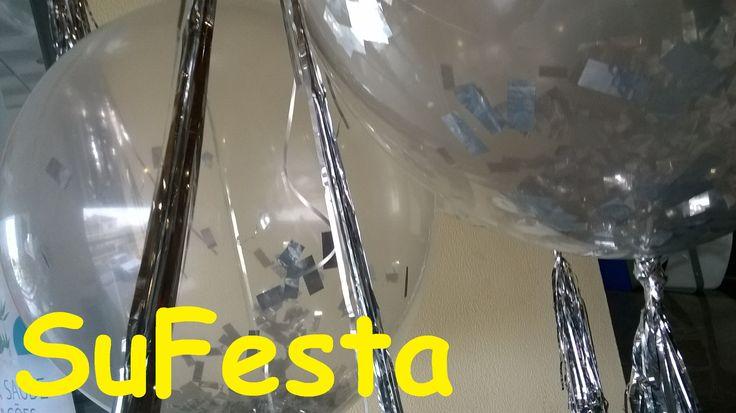Balões gigantes  prata, transparente e muito brilho Balloon clear & silver sparkle