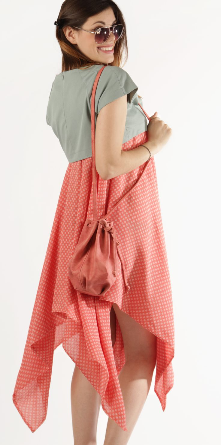 Asymmetrical Dress with Grey Crop Top, Pink Sundress, Coral Skirt with Crop Top, Women Sundress, Summer Dress, Designer Dress
