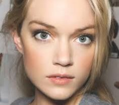 Perfect everyday makeup for fair skin and green eyes. Creamy peach blush and matte gray eyeshadow, tinted lip balm.
