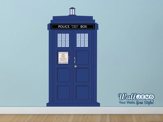 Doctor Who Tardis Police Call Box 2  Vinyl Wall Decal by WallJems, $43.99