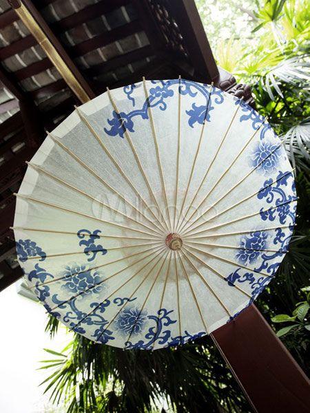 Blue And White Porcelain Lolita Umbrella Chinese Oiled Paper Umbrella