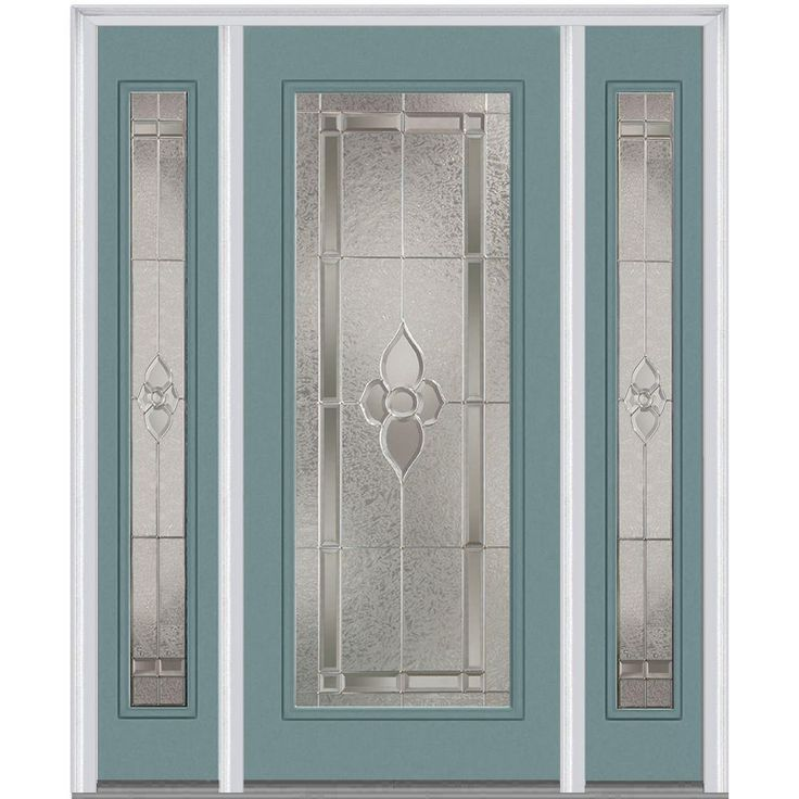 milliken millwork 645 in x 8175 in master nouveau decorative glass full lite painted fiberglass smooth exterior door with sidelites polished mahogany - Exterior Steel Doors