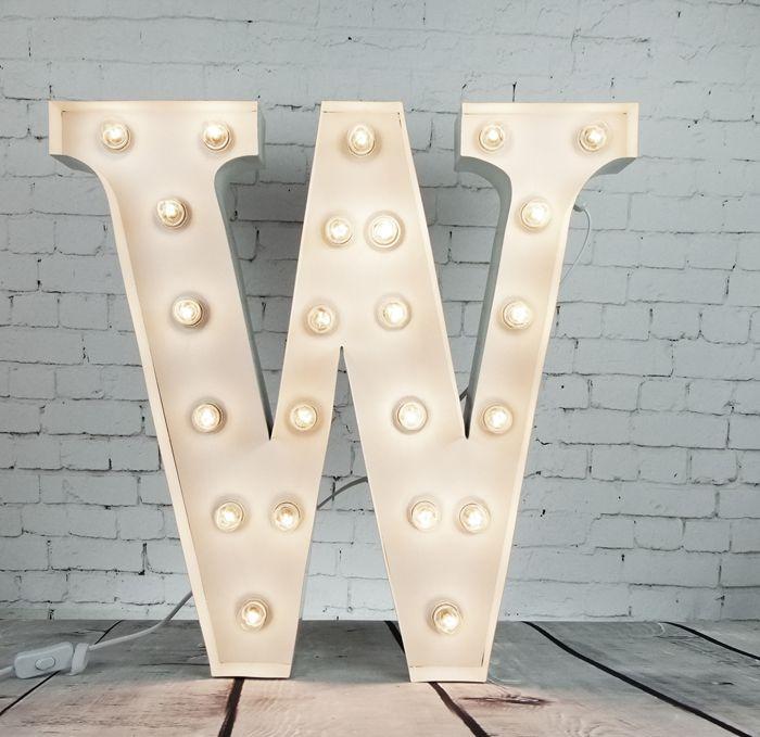 Marquee lysbokstaver: bokstaven W