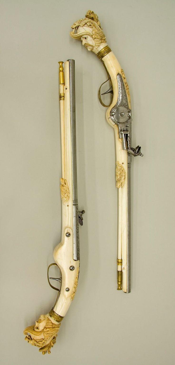 Pair of wheellock pistols. Date: ca. 1655–65. Culture: Dutch, Maastricht. Medium: Steel, chiseled and engraved; gilt brass; ivory. | © 2000–2014 The Metropolitan Museum of Art.