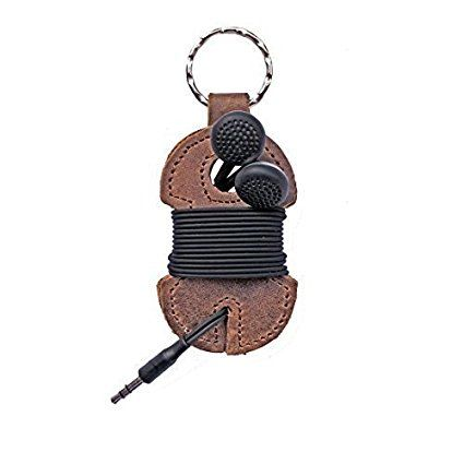 Rustic Leather Key Chain & Headphone Wrap Handmade by Hide & Drink :: Bourbon Brown