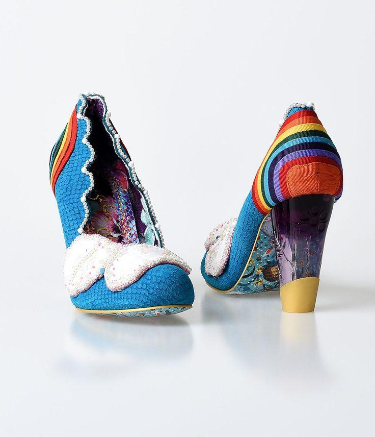 Irregular Choice Blue & Rainbow Pearl Shirley Bass Pumps
