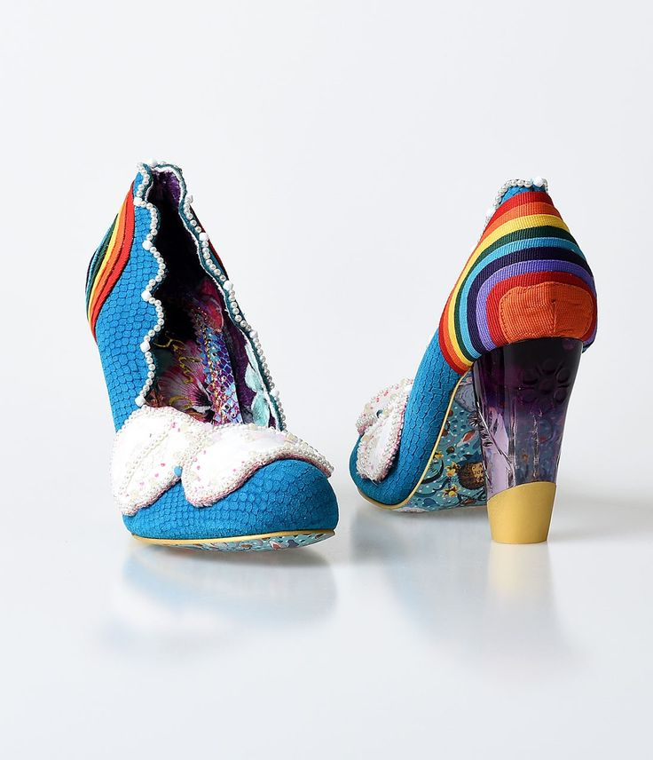 Irregular Choice Blue & Rainbow Pearl Shirley Bass Pumps