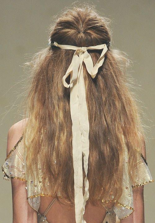 Boho wedding hair. (more wedding hair inspiration on The LANE: www.thelane.com/the-guide/beauty )