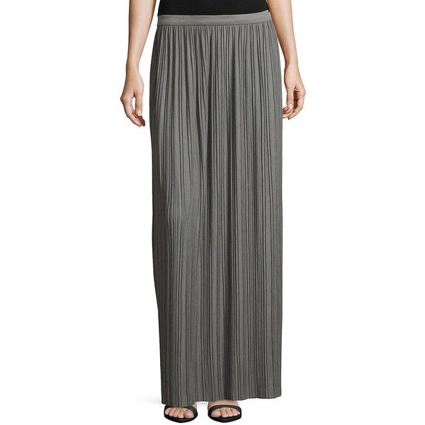 Theory Women's Osnyo Pleated Maxi Skirt - Size large (4.960 RUB) ❤ liked on Polyvore featuring skirts, no color, long skirts, long ankle length skirts, floor length maxi skirt, long floor length skirts and long pleated maxi skirt