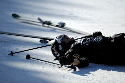 Justin Dorey lays on the ground after wrecking during the skiing superpipe final at Winter X Games 2012 at Buttermilk Mountain in Aspen on Saturday, January 28. AAron Ontiveroz, The Denver Post  (Photo By AAron Ontiveroz/The Denver Post via Getty Images)