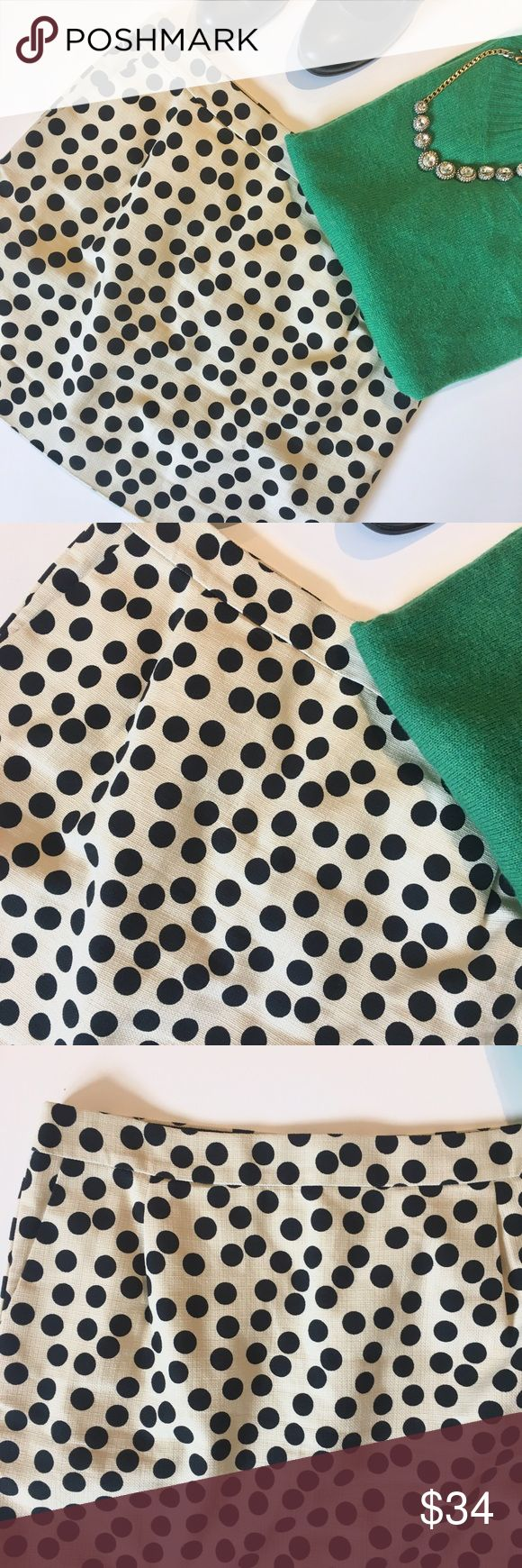 "J. Crew polka dot skirt Excellent condition, no flaws or signs of wear. Super fun skirt and can be worn a multitude of ways! Waist is approx 17.5"" width laid flat and total length is 17"". Add this to a bundle to save 15%. For jewelry, visit my profile for a link to shop. J. Crew Skirts Mini"