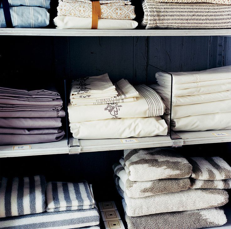 Shelf Dividers Idea: You know how it goes . . . You take the time to meticulously fold sheets and towels, and by the end of week, it looks like a bomb exploded in your linen closet. Here's where clear shelf dividers come in. They'll keep your stacks of linens in order without creating an eyesore. Get it: Stock up on these acrylic shelf dividers to tame your most unruly closet.