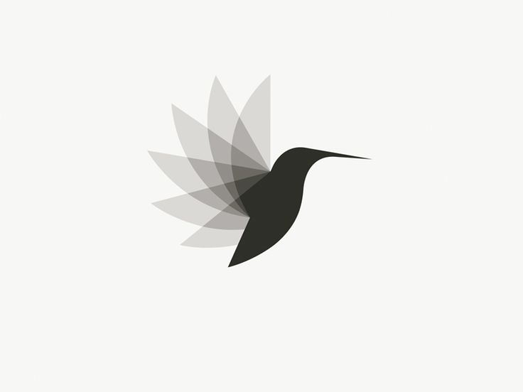 """This is an amazing logo that has a lot of movement and would work nicely in both color or black and white. The use of proximity is excellent to form the """"moving"""" wings of the hummingbird."""