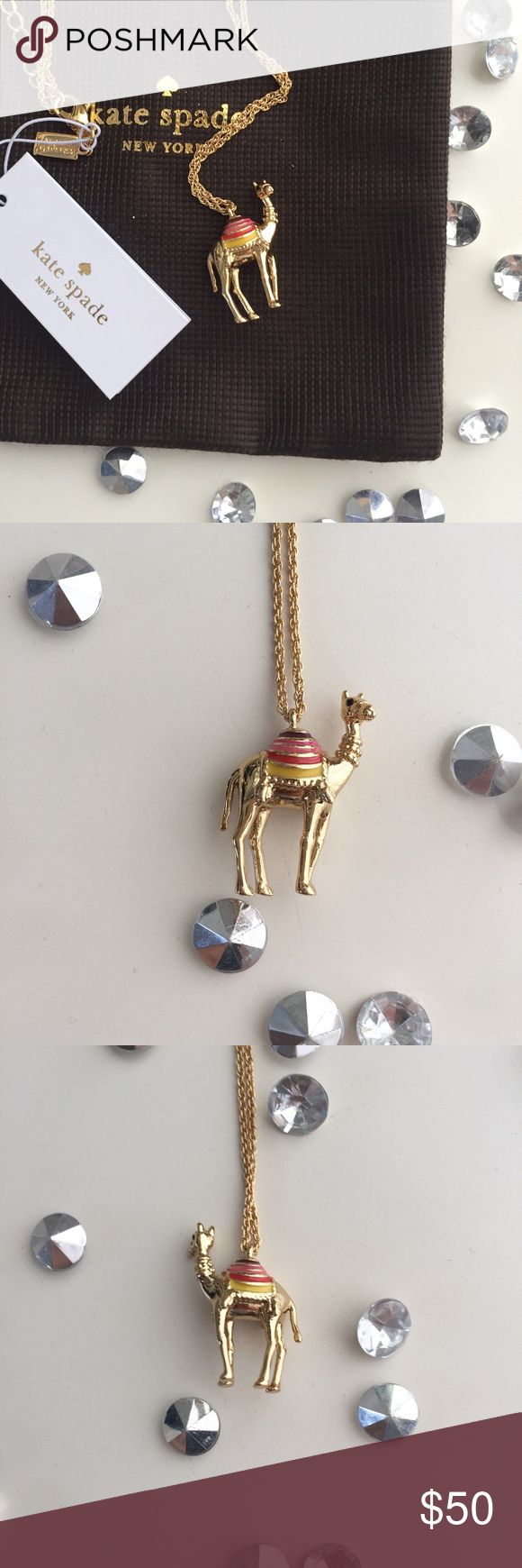 """🐪Kate Spade Camel Necklace🐪 So cute! From the Spice Things Up line, this is the camel necklace. Small enough for wear any time of day, it's an adorable piece to pair with an outfit! 18"""" chain with option 3"""" adjustable additional drop. Brand new with dust bag! kate spade Jewelry Necklaces"""