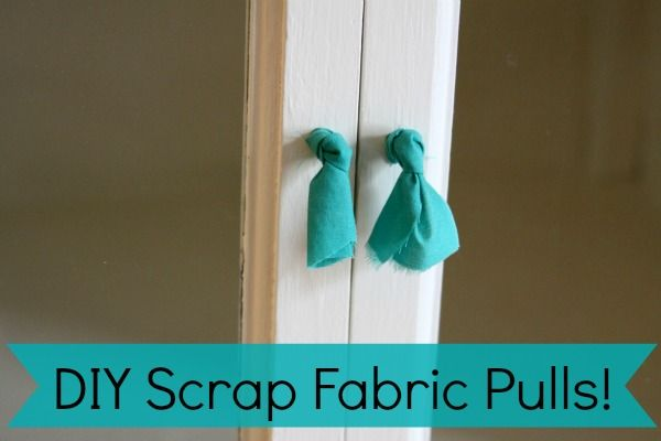 DIY Scrap Fabric Pulls - you could also sew long edges together to form a tube, for a more finished look. Or how about using tassels?