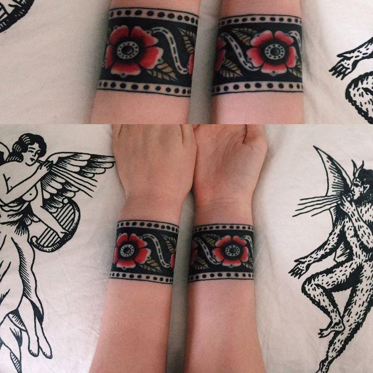 Freehand wrist cuffs tattooed by Rich Hadley, Rain City