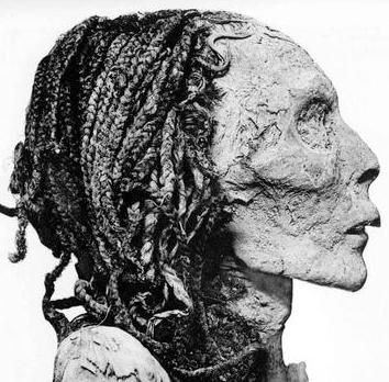 Queen Ahmose Nefertari, still got her braids in! Queen Ahmose Nefertari  was the mother of king Amenhotep I and may have served as his regent when he was young. During the 18th dynasty.