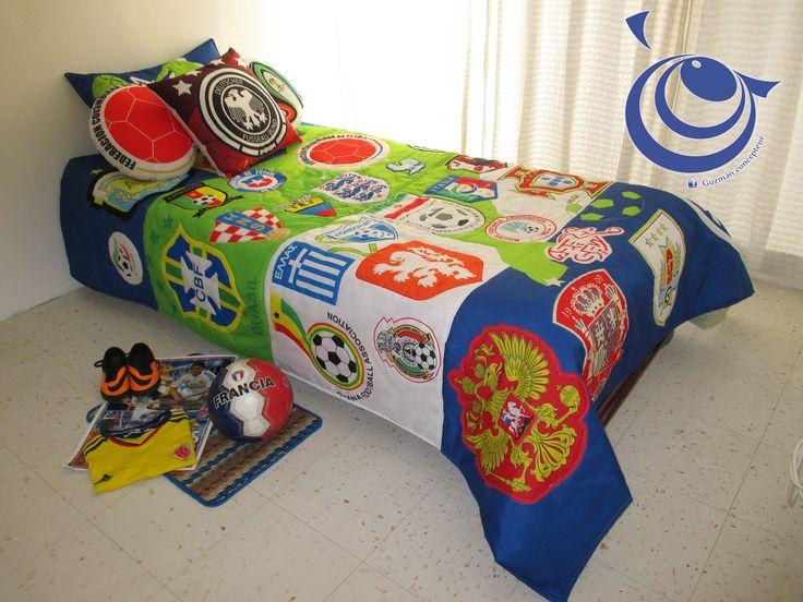 Conmemorativo Mundial de fútbol 2014 edredón para cama sencilla .ref Big shields stripes, incluye 3 cojines inf guzmanconcept@outlook.com.