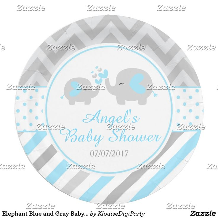 Elephant Blue and Gray Baby Shower Paper Plate