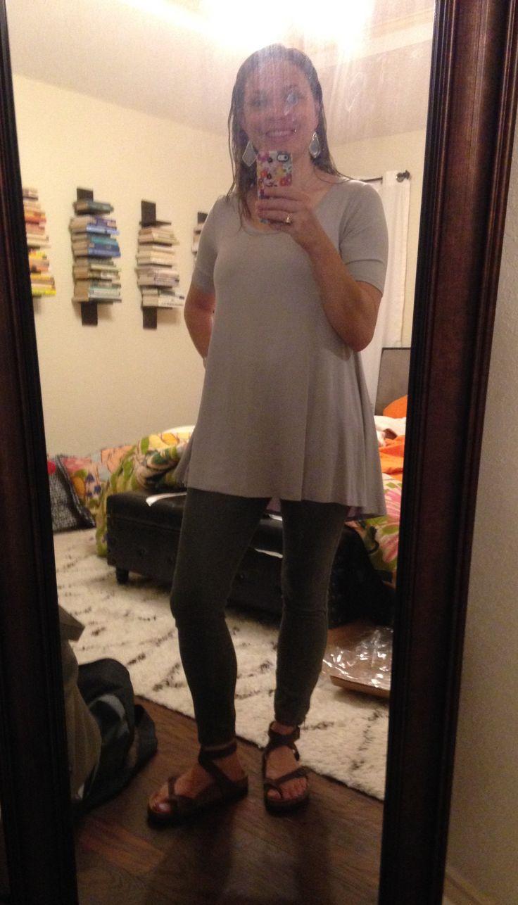 LuLaRoe Perfect Tee - gray, skinny olive pants, Birkenstocks