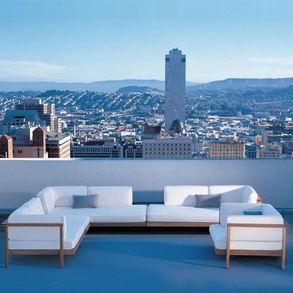Henry Hall Designs modern outdoor furniture for garden&patio, including sustainable teak and woven classic designs.  Pure Sofa at the Huntington Hotel in San Francisco, CA.