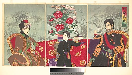 A Mirror of Japan's Nobility: The Emperor Meiji, His wife and Prince Haru (1879–1925) Toyohara Chikanobu
