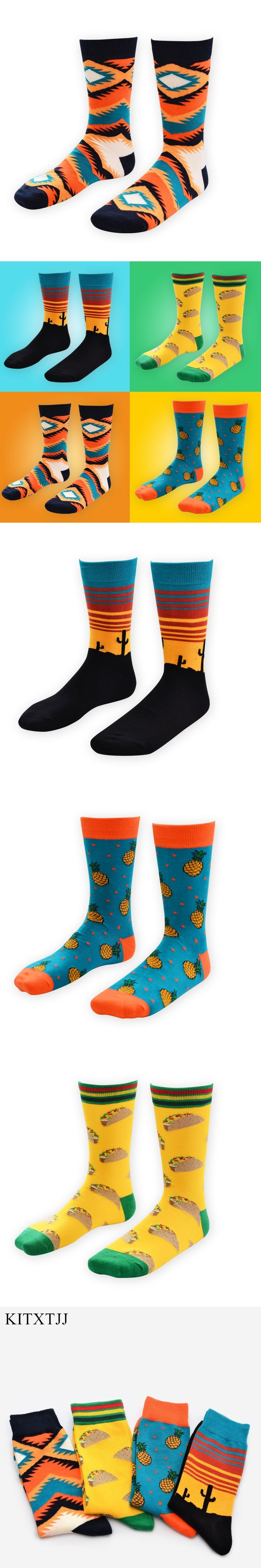 New Fashion Men Socks Crew Long Skate Casual Happy Funny Brand Calcetines Compression Hombre Meias Winter Sokken Sox Wholesale