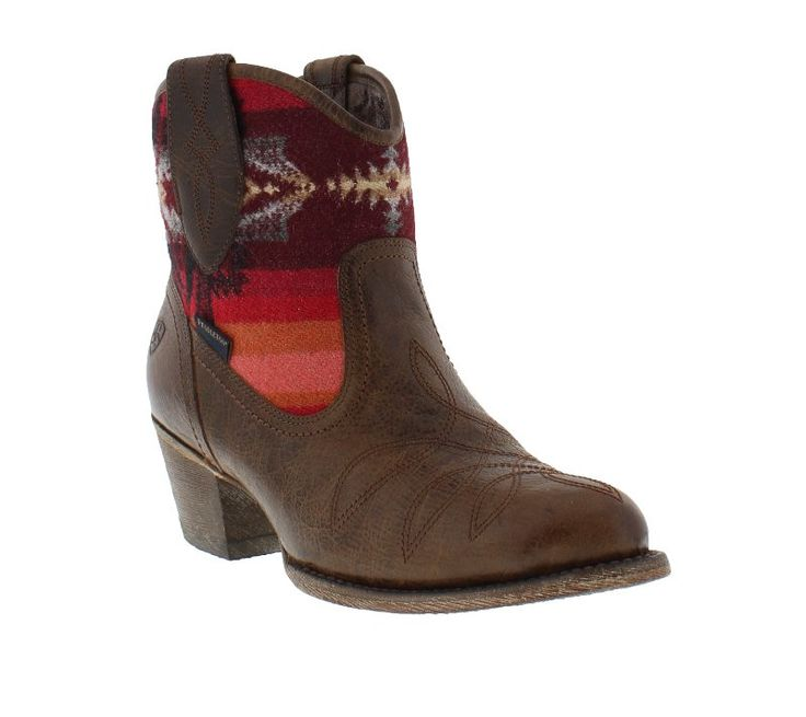 Ariat Women's Pendleton Blanket and Wicker Brown Almond Toe Ankle Boots -  Ladies Boots and Shoes - Ladies - New 2015