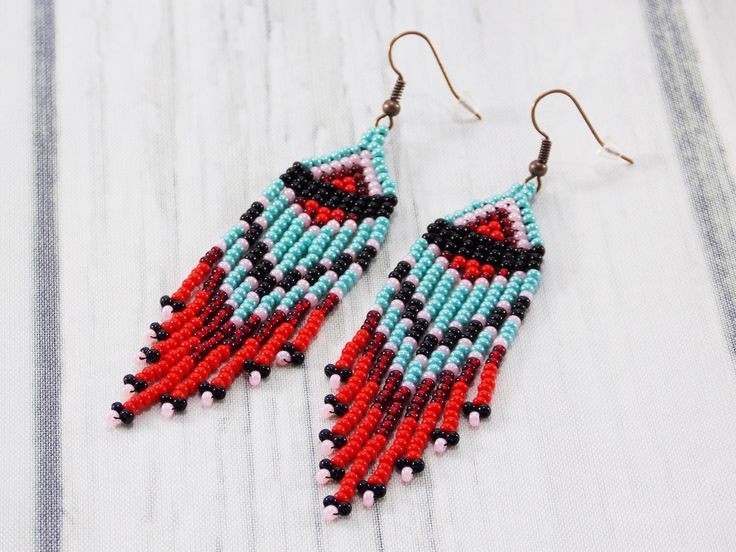 Spring gift girlfriend gifts for every budget gifts turquoise earrings long fringe earrings  art earrings festival earrings fashion earrings by UkrainianBeadJewelry on Etsy https://www.etsy.com/listing/513682263/spring-gift-girlfriend-gifts-for-every
