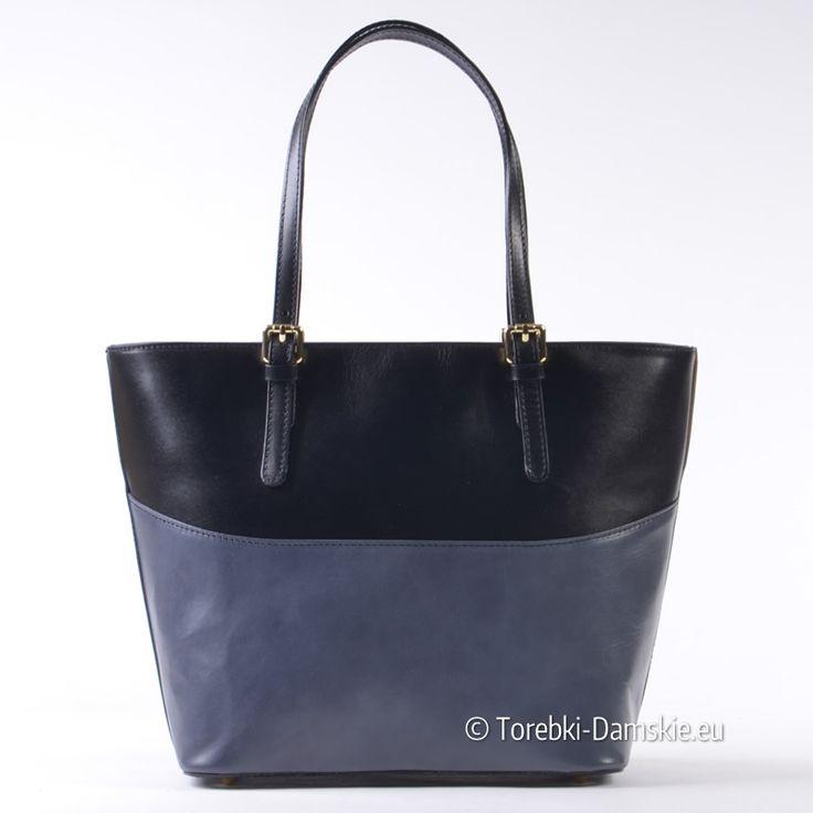 Szaro czarna torba ze skóry naturalnej produkcji włoskiej. Paski z regulacją długości - na ramię