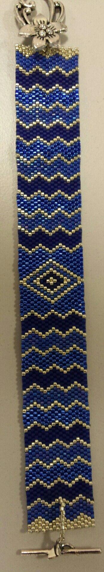 Cobalt blauw /zilveren armband