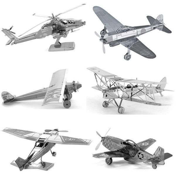 3D Jigsaw Metal Puzzle Toys Aircraft Fighter Helicopters Model