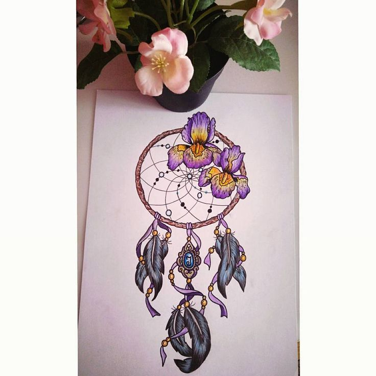 Dreamcatcher with Iris flower #custommade #iris #flower #tattoodesign #dreamcatcher #purple #blue #babyblueart
