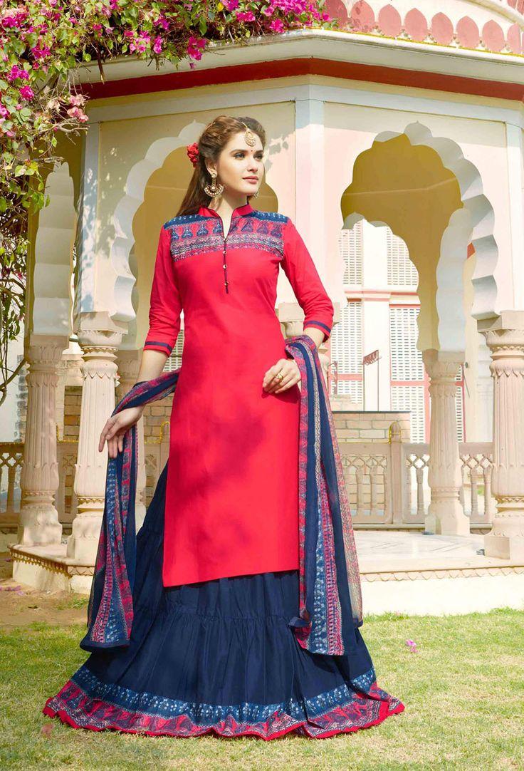Deep #Pink #Cotton #Printed #Achkan #Style #Salwar #Kameez #nikvik  #usa #designer #australia #canada #freeshipping #suits #collar #pakistani