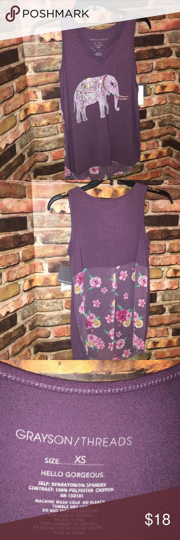 "Grayson Threads XS hello gorgeous tank sleepwear Half of back is semi sheer floral. I believe this is a sleep tank but doesn't look like a pj top. Super cute! Approx 14 1/2"" armpit to armpit and  23"" long front and 26 1/2"" long back. grayson theeads Tops Tank Tops"