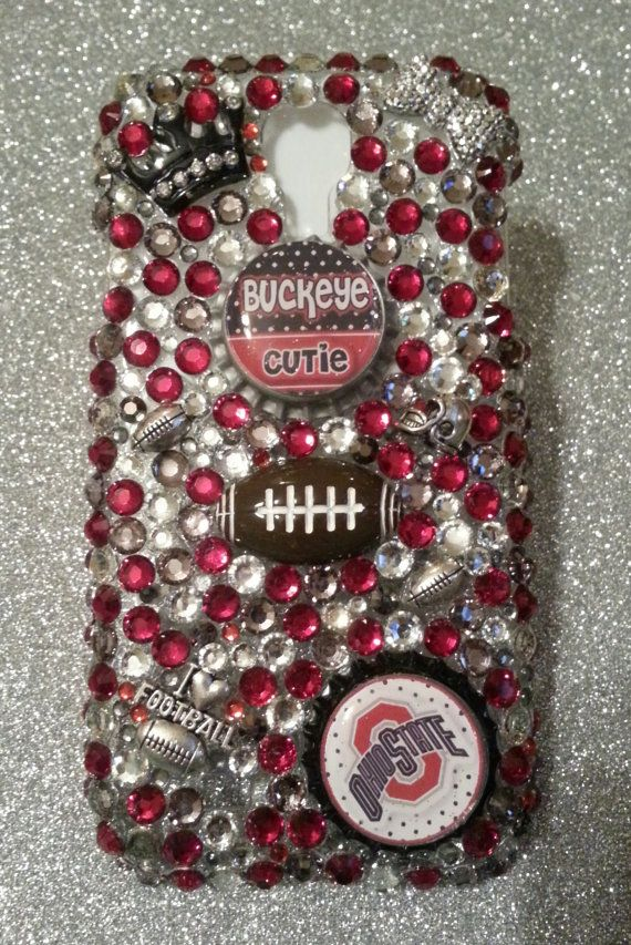 Bling Ohio State Buckeyes College Football phone case available in iPhone 3, 4, 5, Samsung galaxy 3, 4 or Samsung galaxy note 2 on Etsy, $26.99