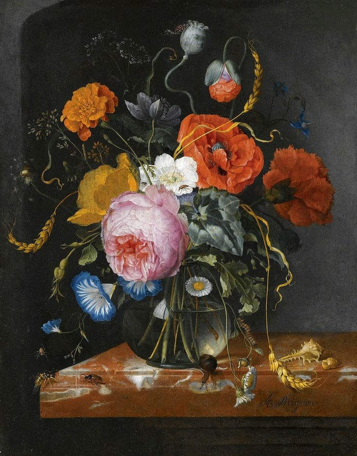 Still Life with Flowers in a Glass Vase on a Marble Ledge ~ Jacob van Walscapelle