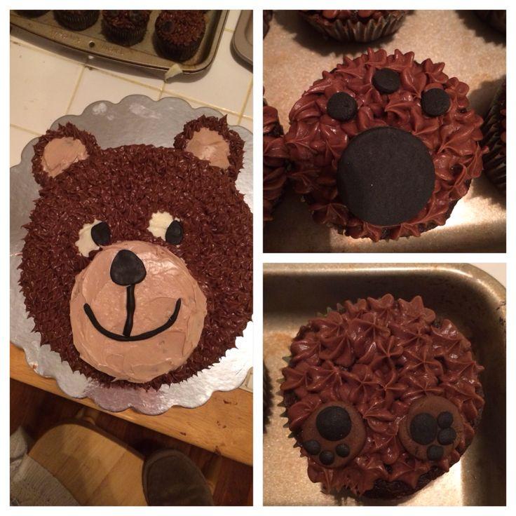 Bear cake and cupcakes