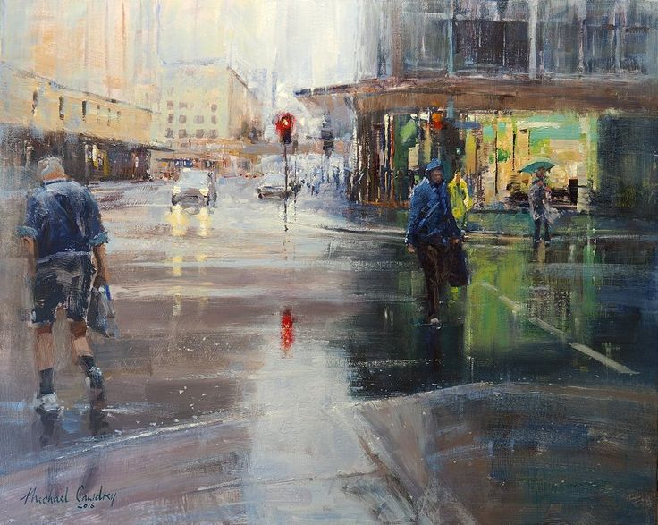 Michael Cawdrey June Rain - Edward And Adelaide. Street scene Acrylic 20x30 inches
