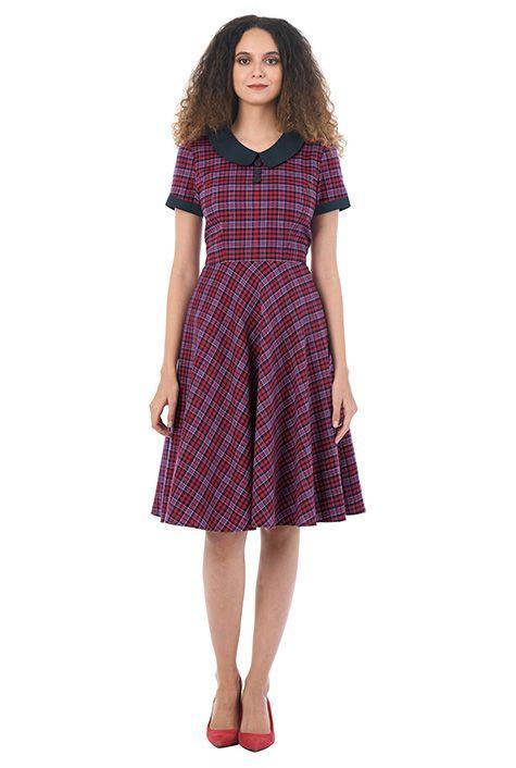 I <3 this Contrast collar cotton plaid dress from eShakti