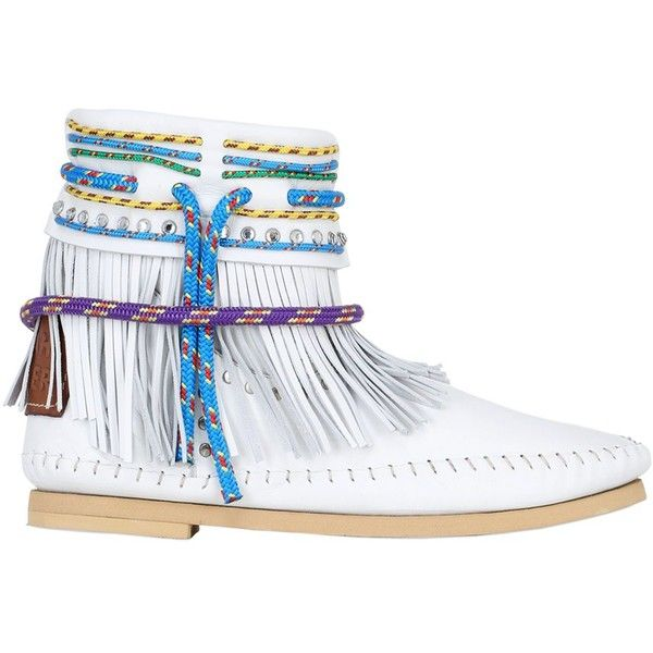 Sarah Summer Women 10mm Fringed Nappa Leather Boots ($160) ❤ liked on Polyvore featuring shoes, boots, white, multicolor shoes, sarah summer shoes, sarah summer, fringe boots and multi coloured shoes