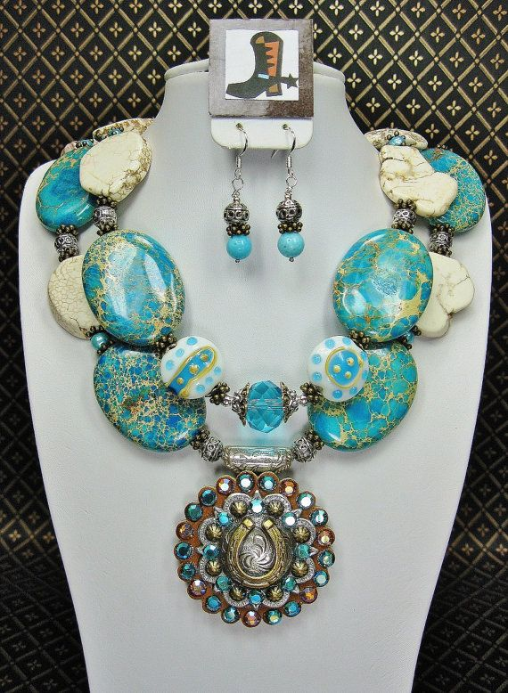 Turquoise Chunky Cowgirl Necklace / Western / Statement / Bold / Horseshoe Berry Concho Pendant - DiViNe CoWGiRL via Etsy