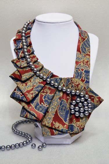 Antique plata corbata arte accesorio Collar por stylesbyana