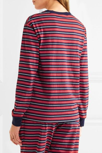 Sleepy Jones - Stevie Striped Cotton Pajama Top - Red - small
