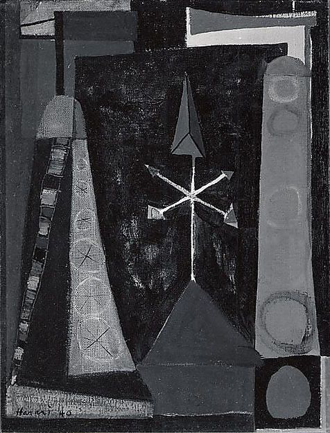 Weather Vanes  Artist:Hananiah Harari (American, Rochester, New York 1912–2000 Hawthorne, New York) Date:1940 Medium:Oil on canvas Dimensions:13 1/8 x 10 1/8 in. (33.3 x 25.7 cm) Classification:Paintings